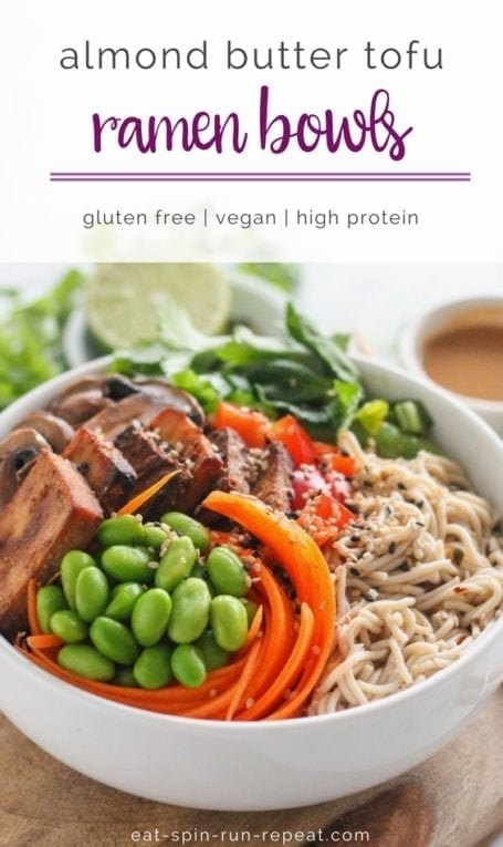 Nutty, sweet and spicy, these Almond Butter Tofu Ramen Bowls will change the way you think about tofu - for the better! | #vegan #glutenfree #highprotein #wholefoods | by Angela Simpson, culinary nutrition expert + blogger at eat-spin-run-repeat.com