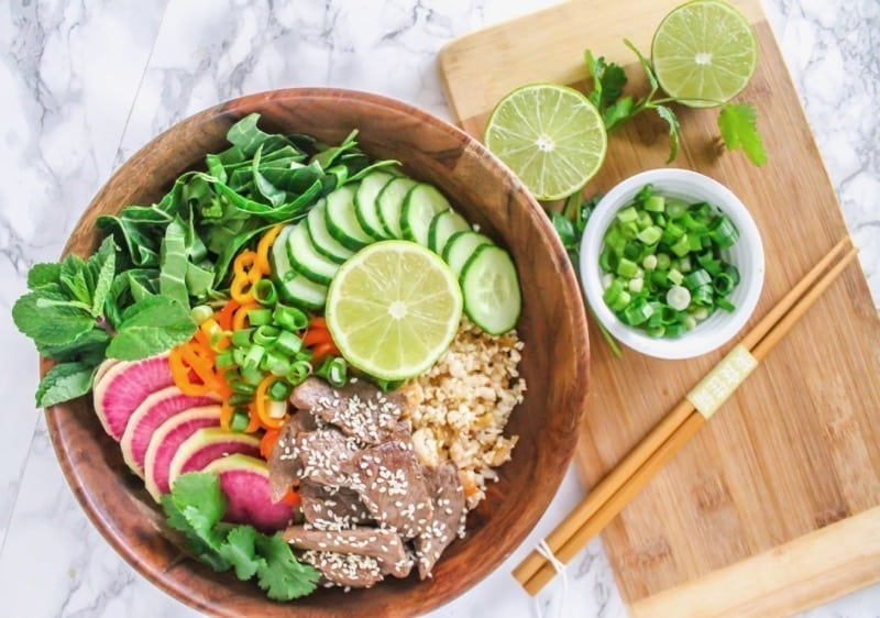 Healthy Korean Beef Bulgogi with Kimchi Cauliflower Fried Rice | #paleo #glutenfree #grainfree | Recipe by Angela Simpson, Culinary Nutrition Expert + Blogger at Eat-Spin-Run-Repeat.com