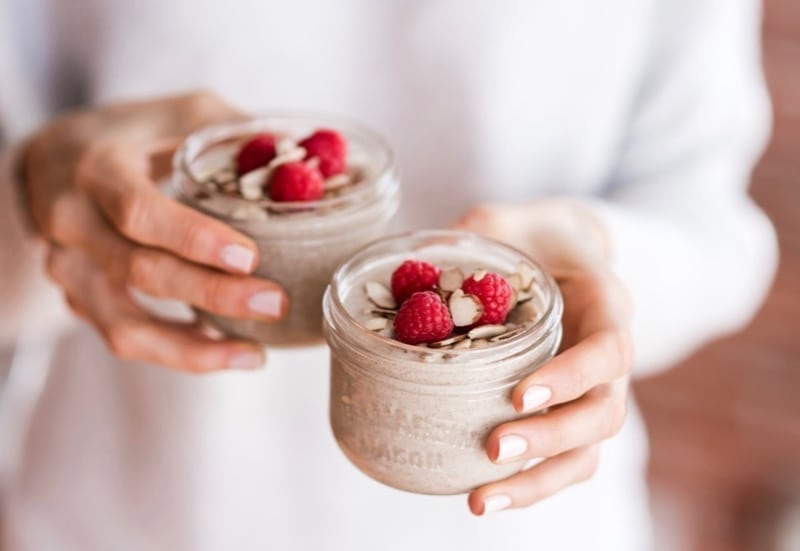Raspberry Almond Coconut Chia Pudding