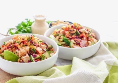 Crunchy Thai Quinoa Salad with Red Curry Chicken | A healthy lunch recipe perfect for big batch meal prep, high in protein and full of bright colourful veggies! | #glutenfree #mealprep #healthy #eatclean | Eat Spin Run Repeat