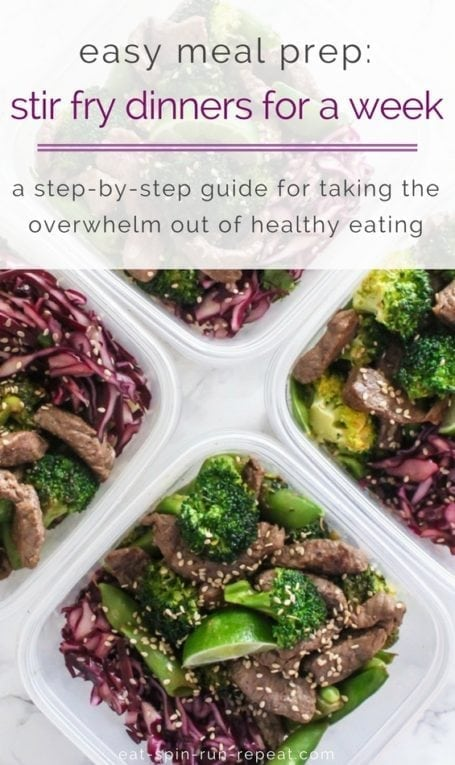 Easy meal prep: Stir fry dinners for a week   The process I use to take the overwhelm out of healthy eating and enjoy delicious meals all week long   Eat Spin Run Repeat   #mealprep #glutenfree #eatclean