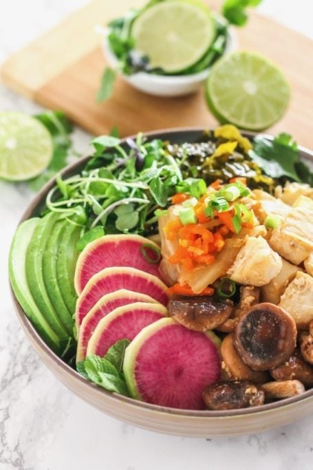 Miso Ginger Cod Power Bowls | High in protein, probiotic-rich kimchi and miso, immunity-boosting shiitake mushrooms and a ton of veggies! | Recipe via Angela Simpson - Eat Spin Run Repeat | #guthealth #nutrition #powerbowl #glutenfree