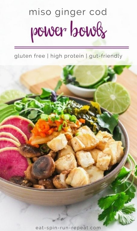 Miso Ginger Cod Power Bowls   High in protein, probiotic-rich kimchi and miso, immunity-boosting shiitake mushrooms and a ton of veggies!   Recipe via Angela Simpson - Eat Spin Run Repeat   #guthealth #nutrition #powerbowl #glutenfree