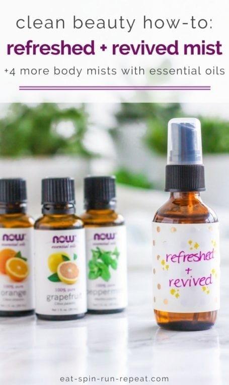 Clean beauty how-to: 5 DIY body mists with essential oils - Angela Simpson, Eat Spin Run Repeat | #cleanbeauty #essentialoils #nontoxic