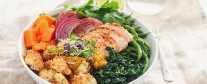 Indian-Inspired Nourish Bowl with Turmeric-Tahini Sauce | Angela Simpson, Eat Spin Run Repeat | #antiinflammatory #paleo #mealprep #buddhabowl