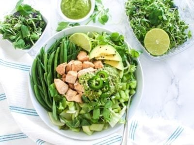 All-Green Bowl with Cilantro Ginger Jalapeno Sauce | If you need a new healthy lunch idea, this high-protein buddha bowl is the perfect way to infuse some delicious variety in your meal prep routine! | Angela Simpson, My Fresh Perspective | #paleo #chicken #buddhabowl #mealprep