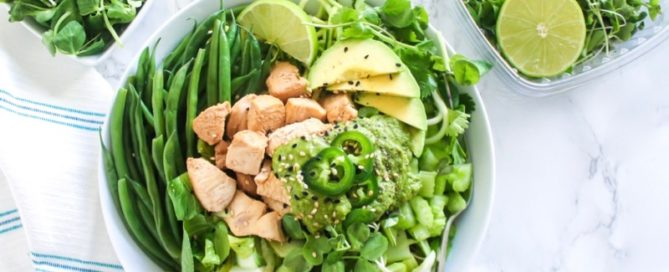 All-Green Bowl with Cilantro Ginger Jalapeno Sauce | If you need a new healthy lunch idea, this high-protein buddha bowl is the perfect way to infuse some delicious variety in your meal prep routine! | Angela Simpson, Eat Spin Run Repeat | #paleo #chicken #buddhabowl #mealprep