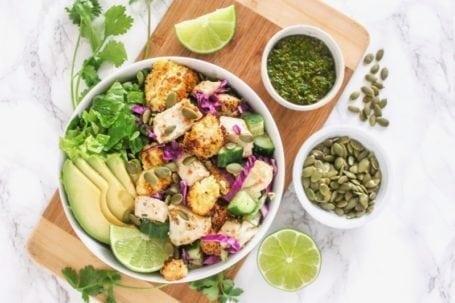 Fish Taco Bowls with Chimichurri Sauce   Angela Simpson, Eat Spin Run Repeat   #paleo #mealprep #pescetarian #eatclean