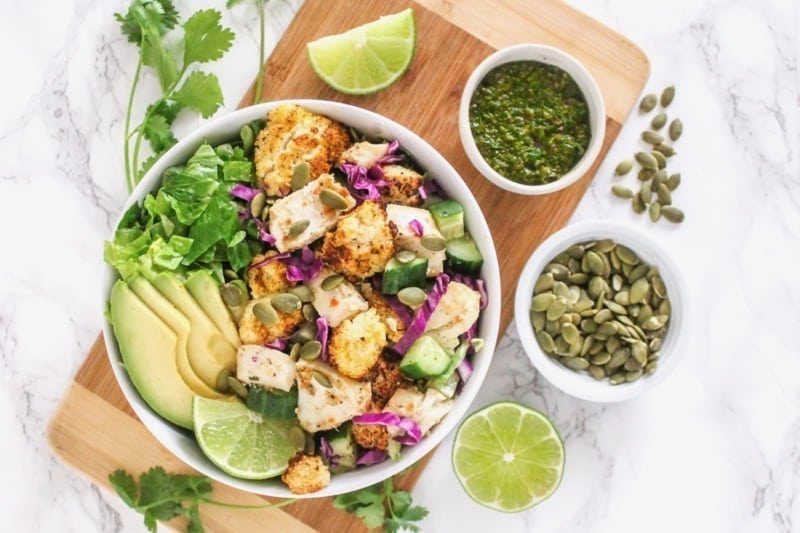 Fish Taco Bowls with Chimichurri Sauce | Angela Simpson, Eat Spin Run Repeat | #paleo #mealprep #pescetarian #eatclean