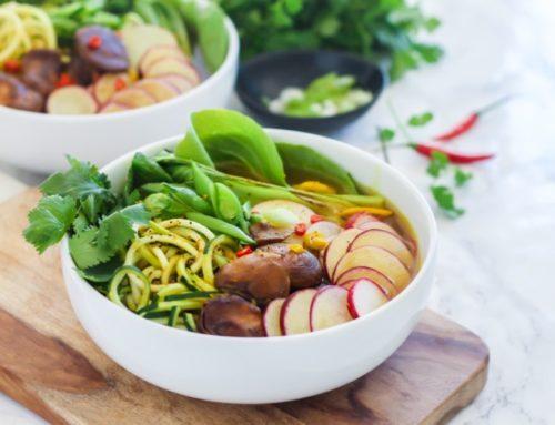 Spiralized Zucchini Pho in Lemongrass Turmeric Broth
