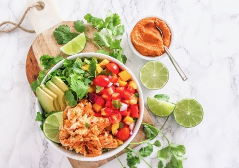 Big batch meal prep: Chipotle Chicken Buddha Bowl | Angela Simpson, My Fresh Perspective | #paleo #cleaneating #avocado #glutenfree
