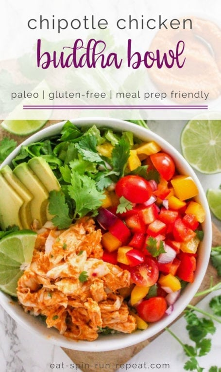 Big batch meal prep: Chipotle Chicken Buddha Bowl | Angela Simpson, Eat Spin Run Repeat | #paleo #cleaneating #avocado #glutenfree
