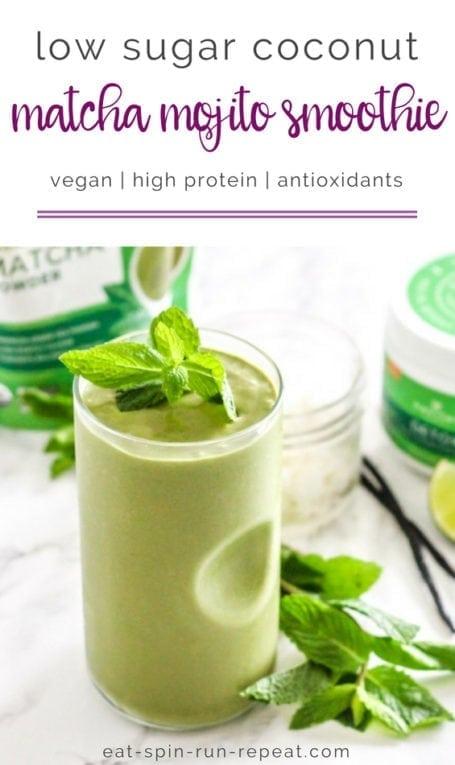 Low Sugar Coconut Matcha Mojito Smoothie | Angela Simpson, Eat Spin Run Repeat | #vegan #antioxidants #matcha #sugardetox #sugarfree