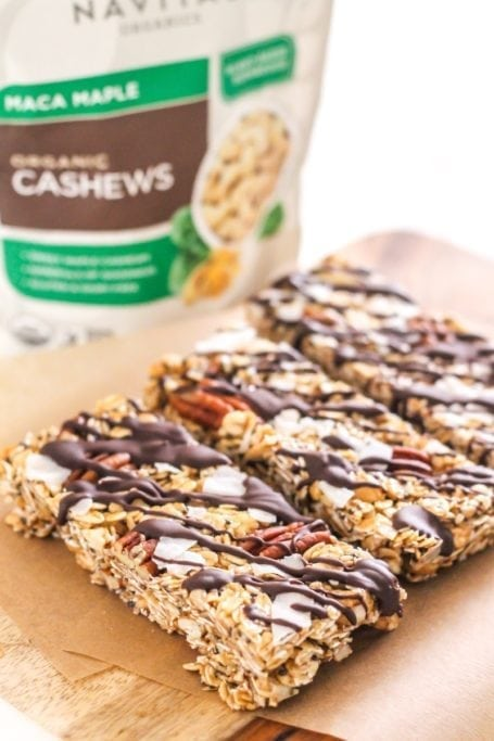 Full of nuts and seeds (and plenty of healthy fats!) theseMaca Cashew Coconut Trail Mix Bars are a delicious rest stop treat when you're on a hike (or just in need of a quick and healthy snack!)   Angela Simpson, Eat Spin Run Repeat   #glutenfree #chocolate #vegan
