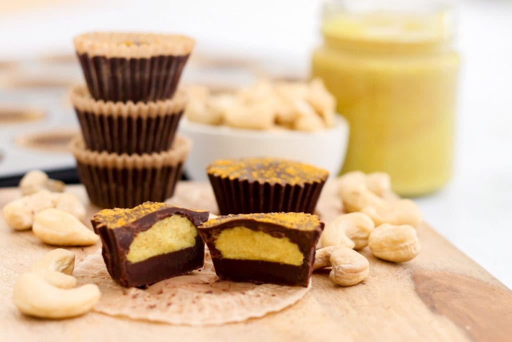Golden Milk Coconut Cashew Butter Cups | vegan, paleo, naturally sweetened and packed with antioxidants and anti-inflammatory compounds! #vegan #paleo #antiinflammatory #goldenmilk #turmeric