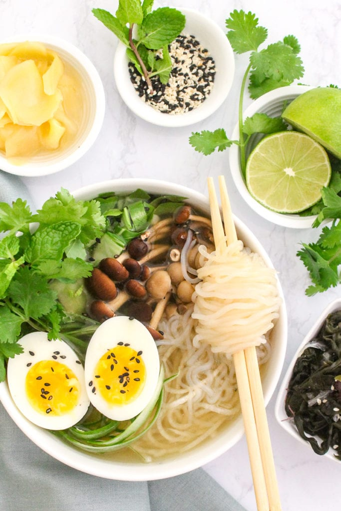 Gut Healing Miso Ginger Ramen with Bone Broth | a gluten-free, veggie-packed, healthy twist on ramen soup with paleo and vegetarian options | My Fresh Perspective | #grainfree #paleo #vegetarian #antiinflammatory #ramen #glutenfree #guthealth