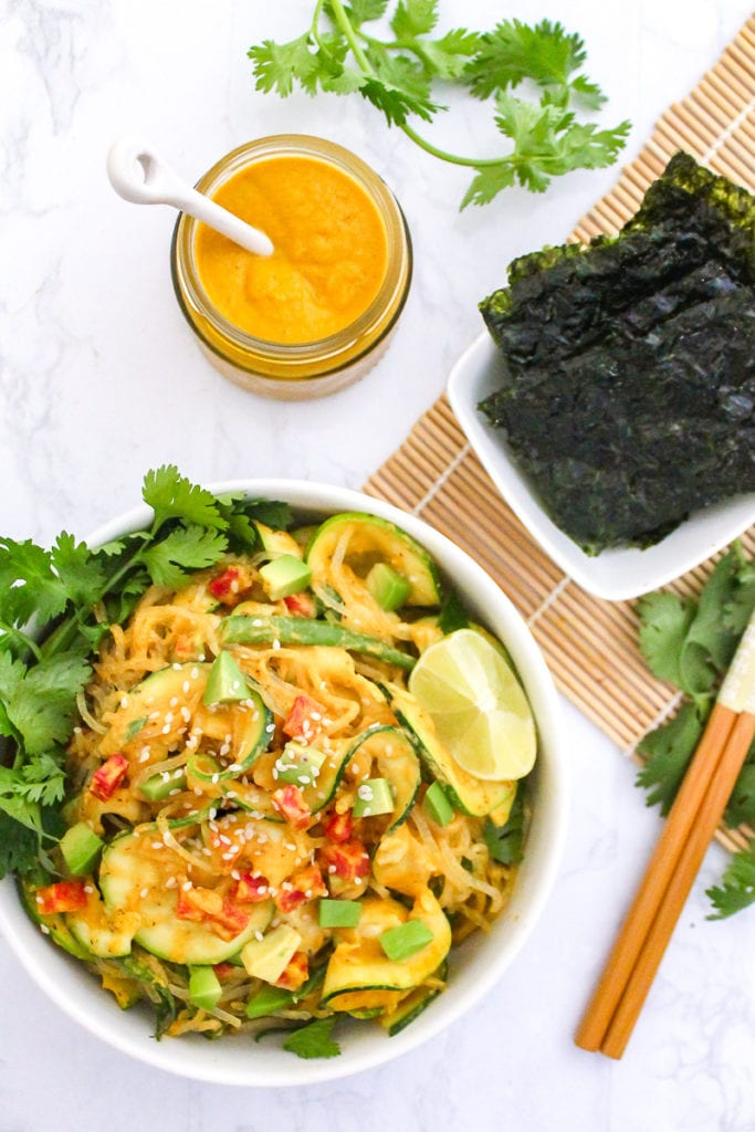 Kelp Noodle Pad Thai with Coconut Almond Butter Sauce | My Fresh Perspective | #vegan #paleo #plantbased #cleaneating #sugarfree #sugardetox