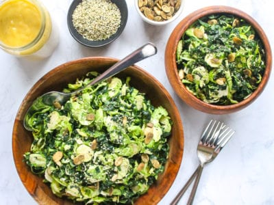This Massaged Kale and Brussels Sprout Salad with Maple Tahini Dressing is packed with fiber, vitamins and minerals, healthy fats and plenty of crunch from hemp and pumpkin seeds. | My Fresh Perspective | #vegan #paleo #thanksgiving #sugardetox #antiinflammatory