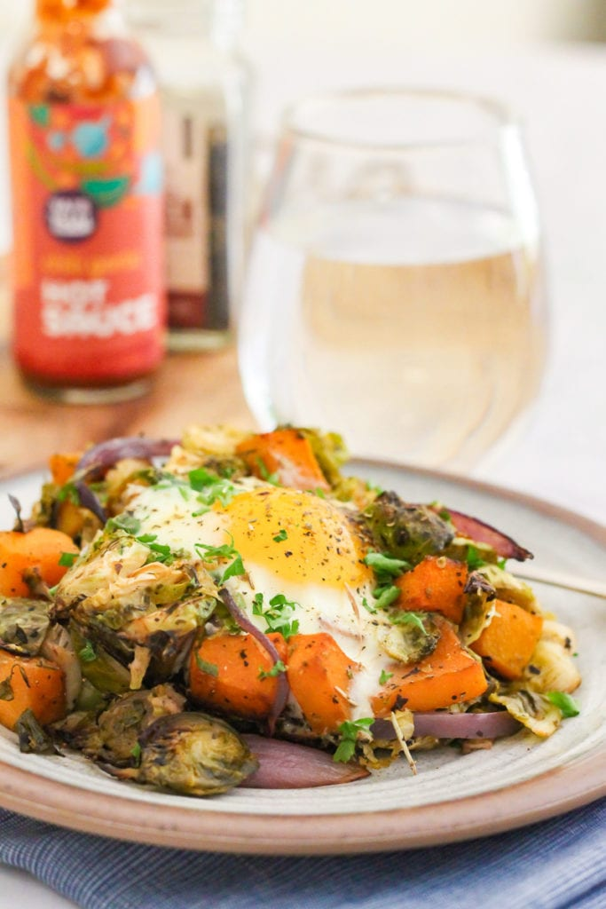 Brussels Sprout, Butternut Squash and Egg Skillet | paleo, Whole30 and vegetarian, this savory breakfast will have you feeling full all morning and keep your blood sugar balanced. | #paleo #whole30 #vegetarian #plantbased #eatclean