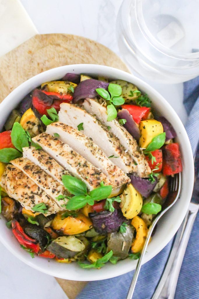 Sheet Pan Balsamic Chicken and Italian Veggies | Your go-to weeknight dinner that's easy, paleo and Whole30 friendly. Great for big batch meal prep and leftovers, too! | #paleo #whole30 #mealprep #dinner #eatclean