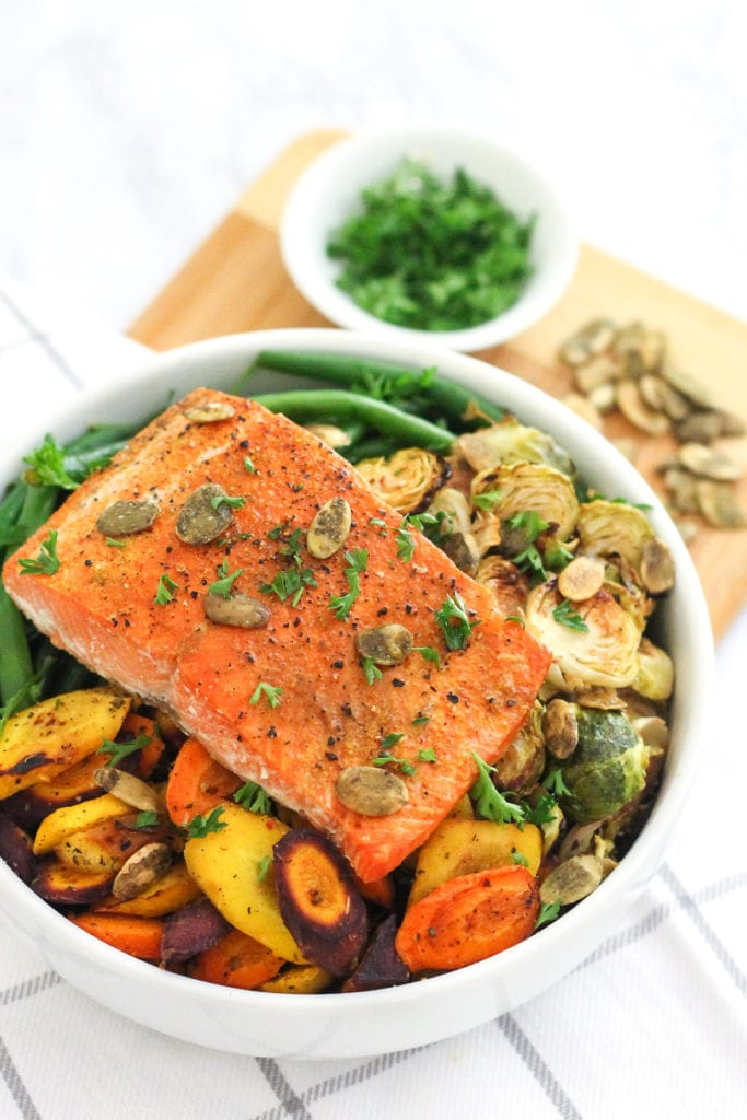 Sheet Pan Salmon and Herb Roasted Vegetables | Paleo, pescetarian and Whole30 friendly, this high-protein, easy dinner is one you'll want on standby | My Fresh Perspective | #pescetarian #paleo #whole30 #whole30recipes #antiinflammatory
