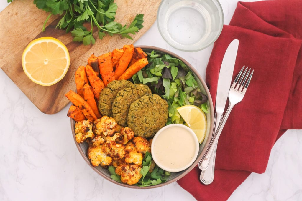 Lemon and Herb Falafel Bowls with Tahini Dressing | These healthy baked falafels work just as great in a buddha bowl as they do as an on-the-go snack! | My Fresh Perspective | #vegan #vegetarian #plantbased #glutenfree #mealprep