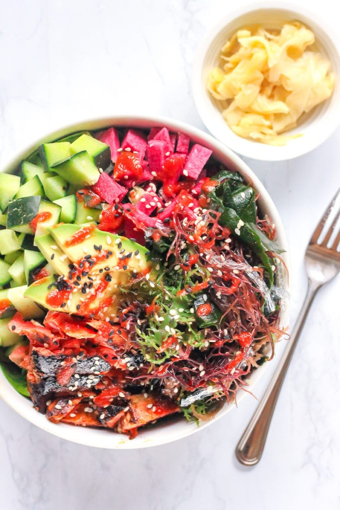 Sriracha Lime Salmon Power Bowls | paleo, Whole30-friendly and high in protein, these delicious power bowls also feature sea vegetables which can improve thyroid health. | via My Fresh Perspective | #whole30 #paleo #sugarfree #sugardetox #salmon #eatclean