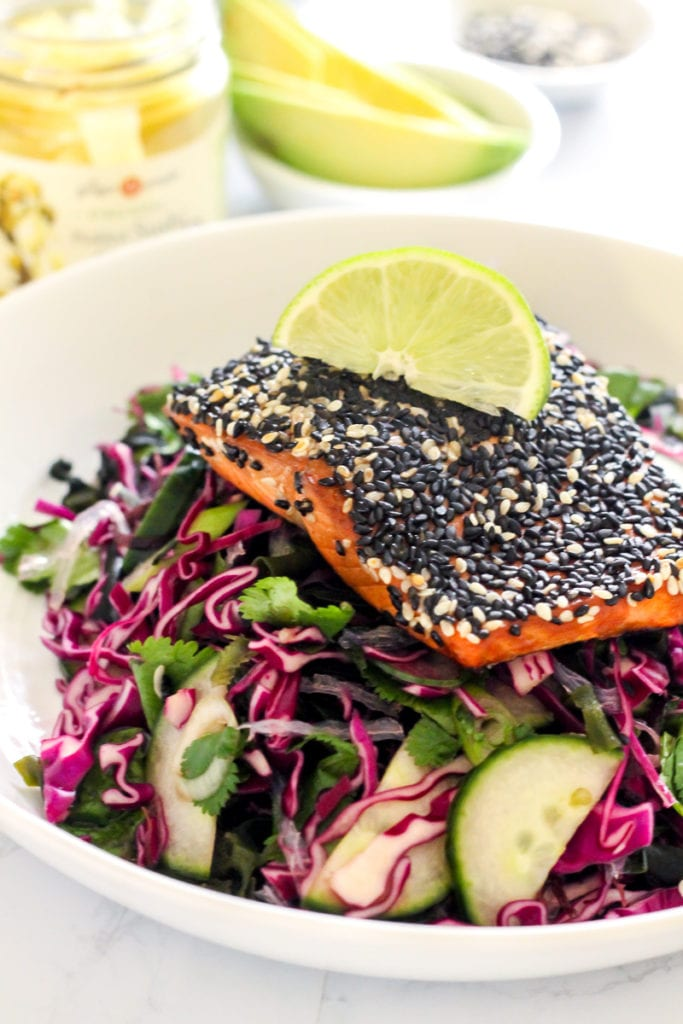 This Asian Sesame Crusted Salmon is a recipe you'll want to savor every last perfectly flaky bite of. Pair it with Asian slaw for a complete, paleo, Whole30-friendly meal. | My Fresh Perspective | #paleo #whole30 #glutenfree #sugardetox