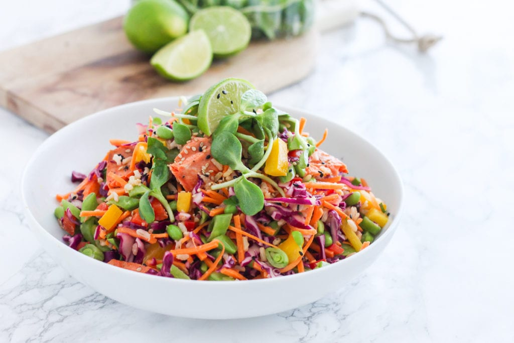 Pineapple Lime Salmon Slaw | anti-inflammatory, high in protein and healthy fats, and make-ahead meal prep friendly! | My Fresh Perspective #mealprep #salmon #antiinflammatory #glutenfree #dairyfree