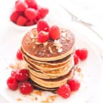Raspberry Coconut Almond Paleo Pancakes | These grain-free, gluten-free, paleo and Whole30 pancakes are a healthy breakfast you can feel great about! | My Fresh Perspective | #whole30 #eatclean #glutenfree #ValentinesDay #MothersDay #paleo