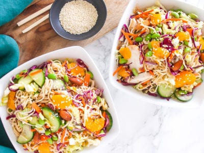 Healthy Mandarin Almond Chicken Noodle Salad with paleo and Whole30 options, perfect for meal prep | My Fresh Perspective | #paleo #whole30 #chicken #mealprep #eatclean