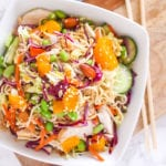 Healthy Mandarin Almond Chicken Noodle Salad with paleo and Whole30 options, perfect for meal prep   My Fresh Perspective   #paleo #whole30 #chicken #mealprep #eatclean