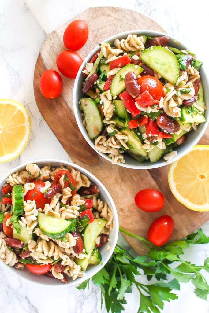 Quick and Easy Pesto Pasta Salad | gluten-free, vegan and packed with flavour, this is a great big-batch meal prep recipe! | My Fresh Perspective | #mealprep #vegan #vegetarian #cleaneating #mealprep