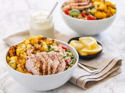Za'atar Chicken with Turmeric Lemon Roasted Cauliflower and Quinoa Pilaf | gluten-free, sugar-free, anti-inflammatory, meal prep friendly and high in protein! | My Fresh Perspective | #glutenfre #antiinflammatory #turmeric #cauliflower #highprotein #sugarfree