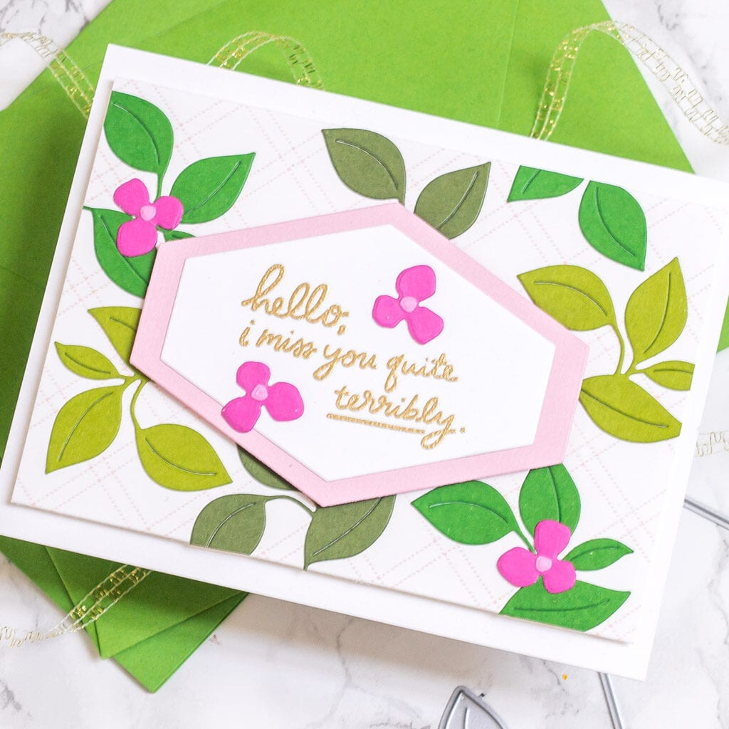The perfect handmade card for your long-distance bestie, or anyone you're missing right now - featuring The Stamp Market Leaflet Die - My Fresh Perspective