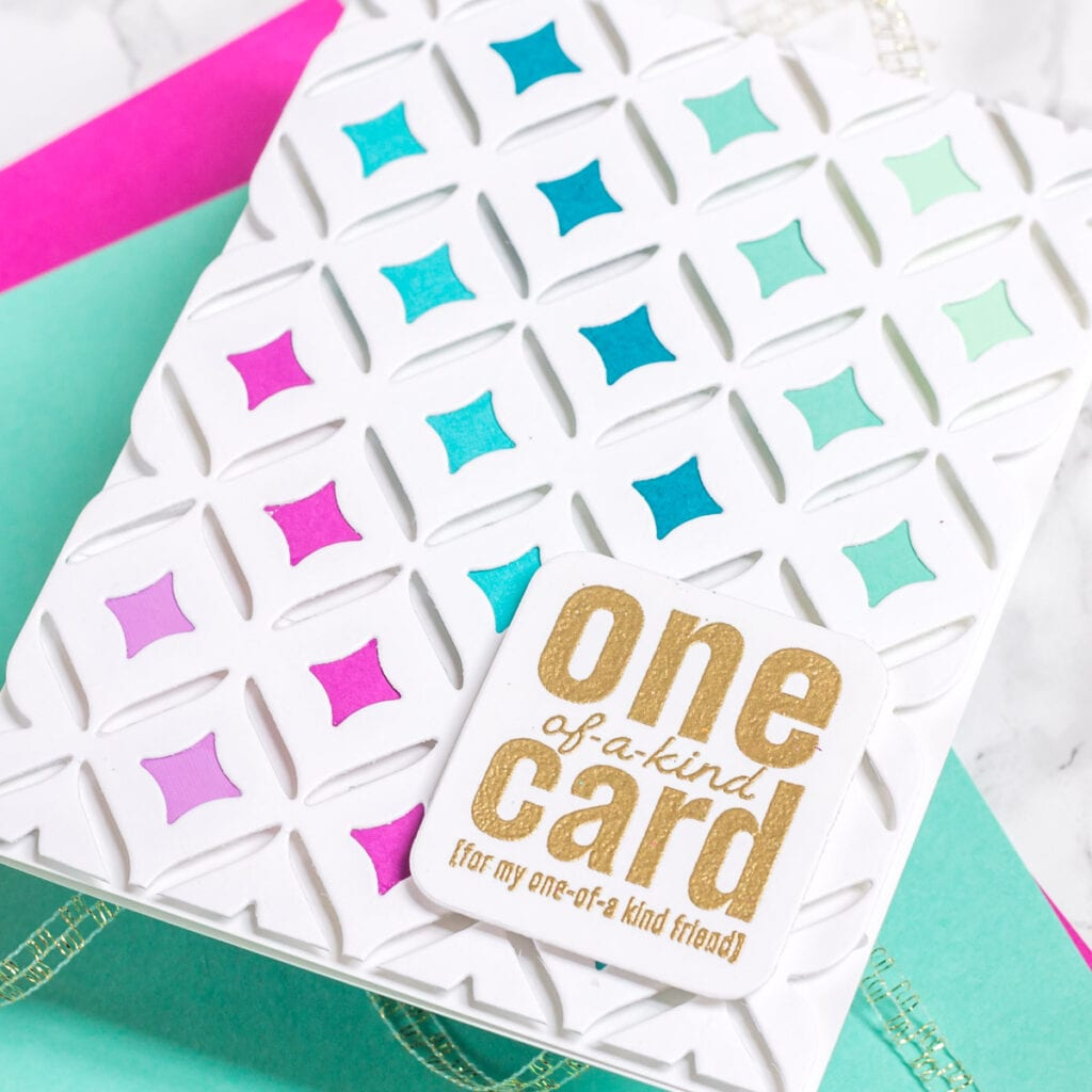 A One of a Kind Card for a One of a Kind Friend - featuring The Stamp Market Modern Motif die. Card created by @mycraftyperspective