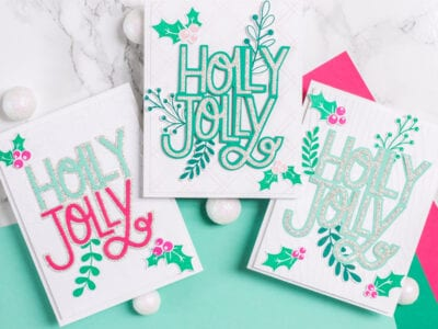 3 cards featuring The Stamp Market Holly Jolly stamp set, 2-piece die and coordinating greenery - via @mycraftyperspective