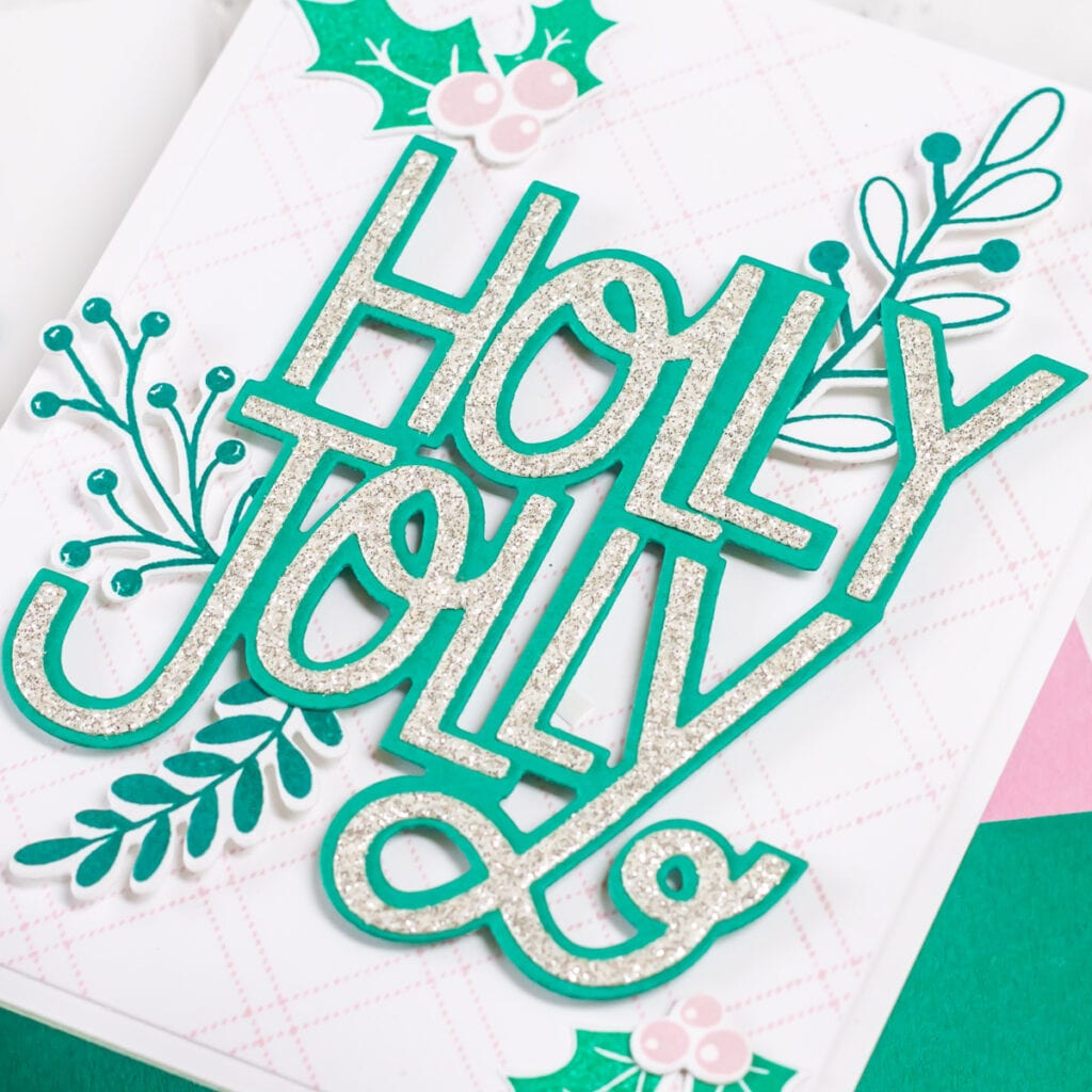 3 cards featuring The Stamp Market Holly Jolly stamp set, 2-piece die and coordinating greenery - My Fresh Perspective