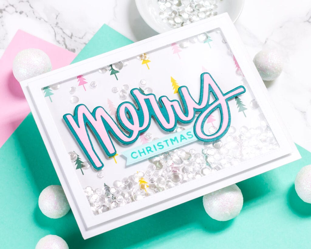 Quick and Easy Merry Christmas Shaker Card - featuring The Stamp Market