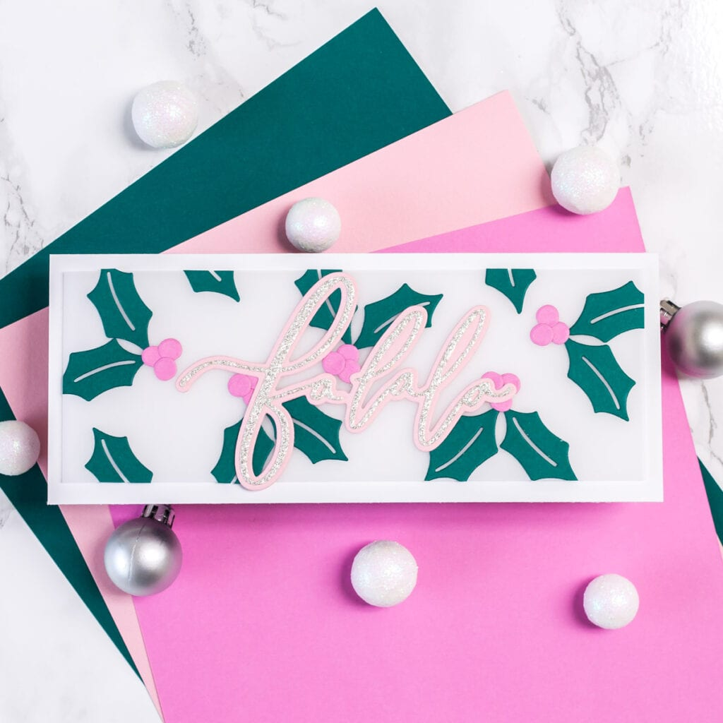 A Slimline Sparkly Falala Holiday Card