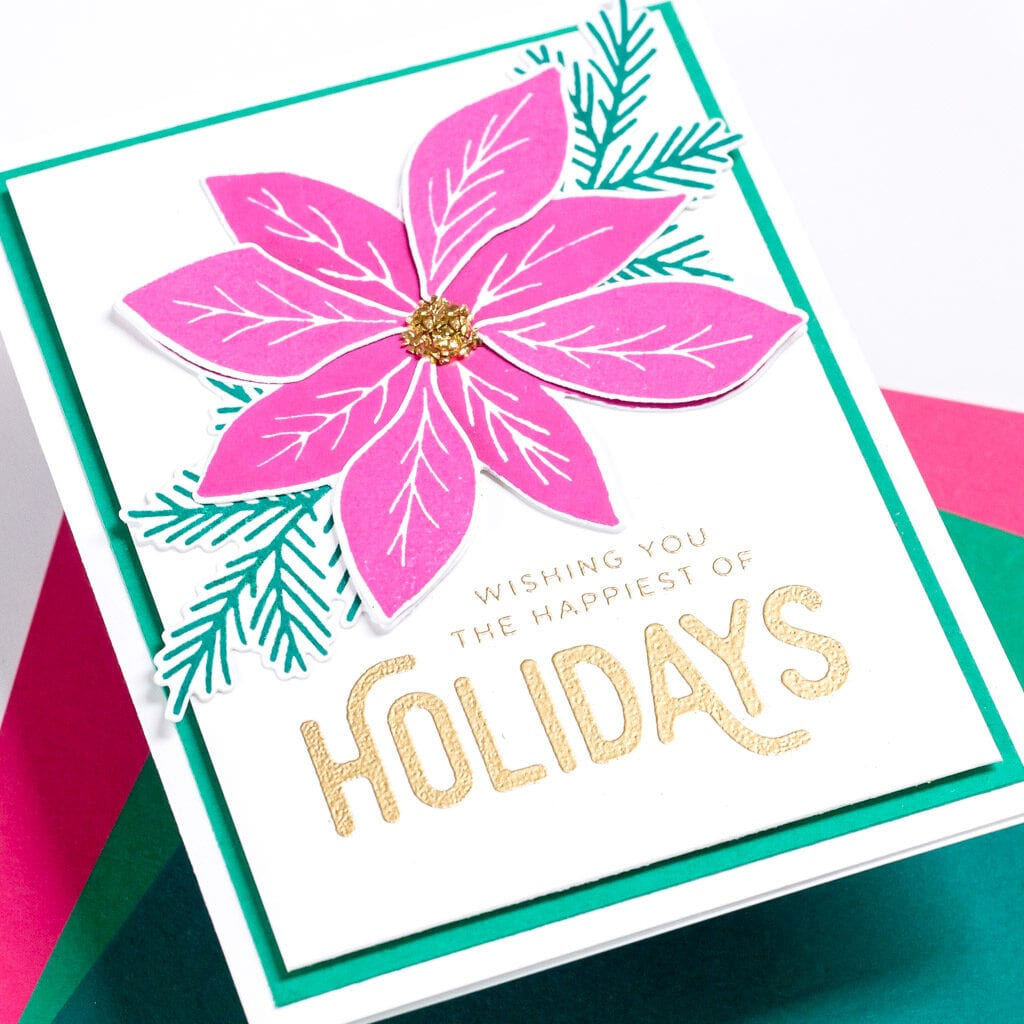 Happiest of Holidays Pointsettia Card - featuring The Stamp Market