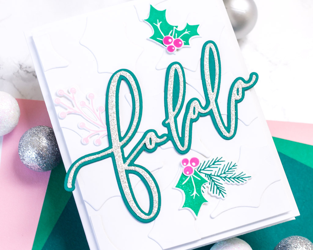 Holiday Greenery with a Touch of Glitter - featuring The Stamp Market Falala Die
