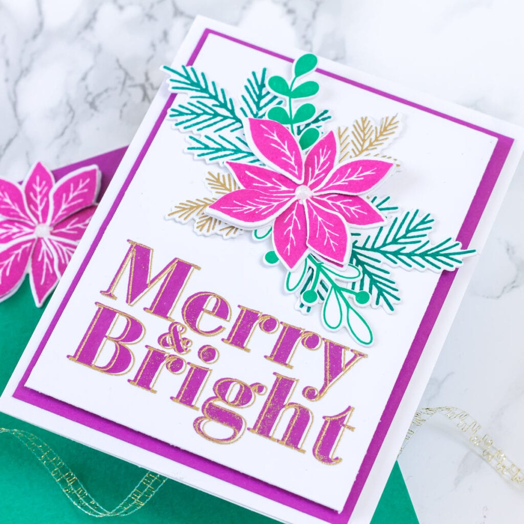Merry and Bright - featuring The Stamp Market Modern Merry & Bright stamp, plus Pointsettia stamp and die set