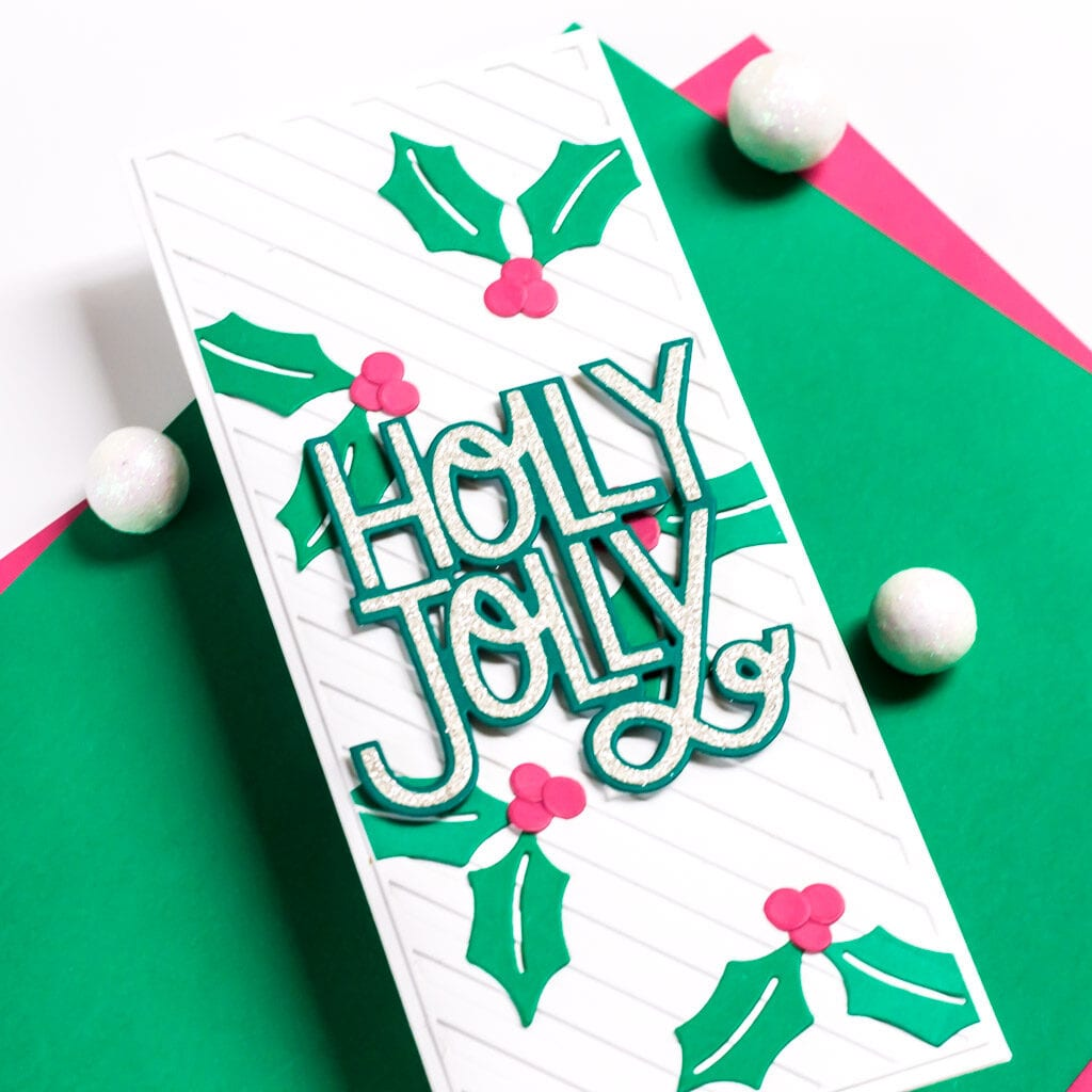 Holly Jolly Sparkles Slimline Card - featuring The Stamp Market and Pinkfresh Studio