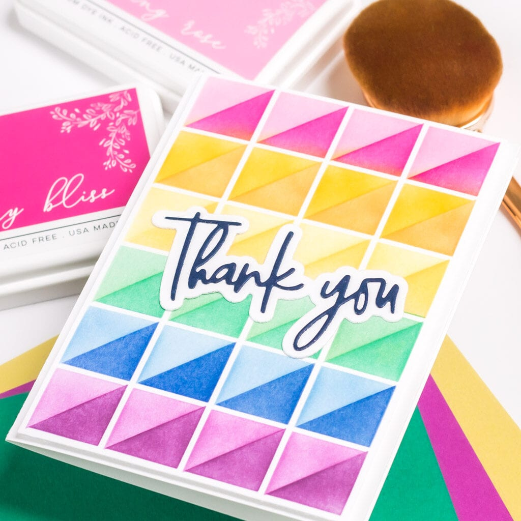 Mirrored Triangles Stencil Cards - featuring Pinkfresh Studio