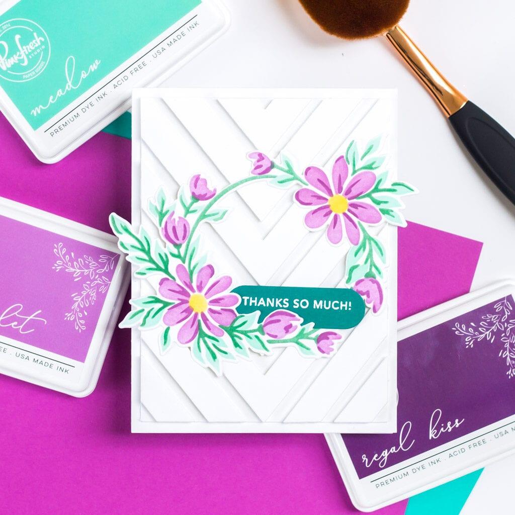 Pinkfresh Studio December 2020 Stencil and Die Release - Daisy Wreath Stencil Card