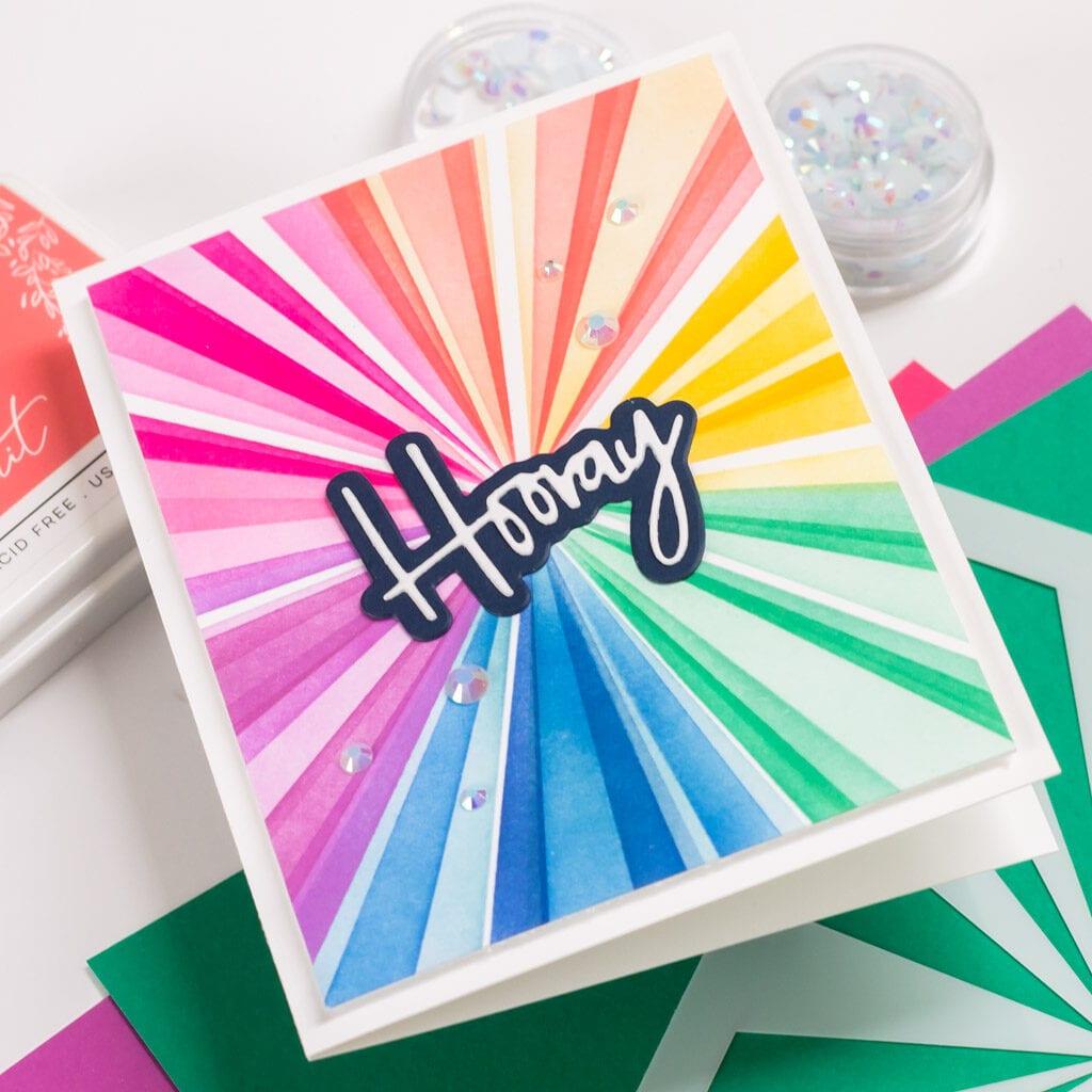 Pinkfresh Studio December 2020 Stencil and Die Release - Layered Sunburst Stencil Card