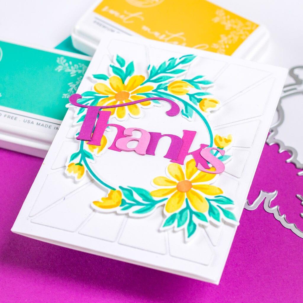 Daisy Wreath Thanks - Pinkfresh Studio Monthly Challenge
