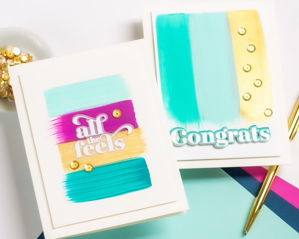 Easy Acrylic Brushstroke Cards