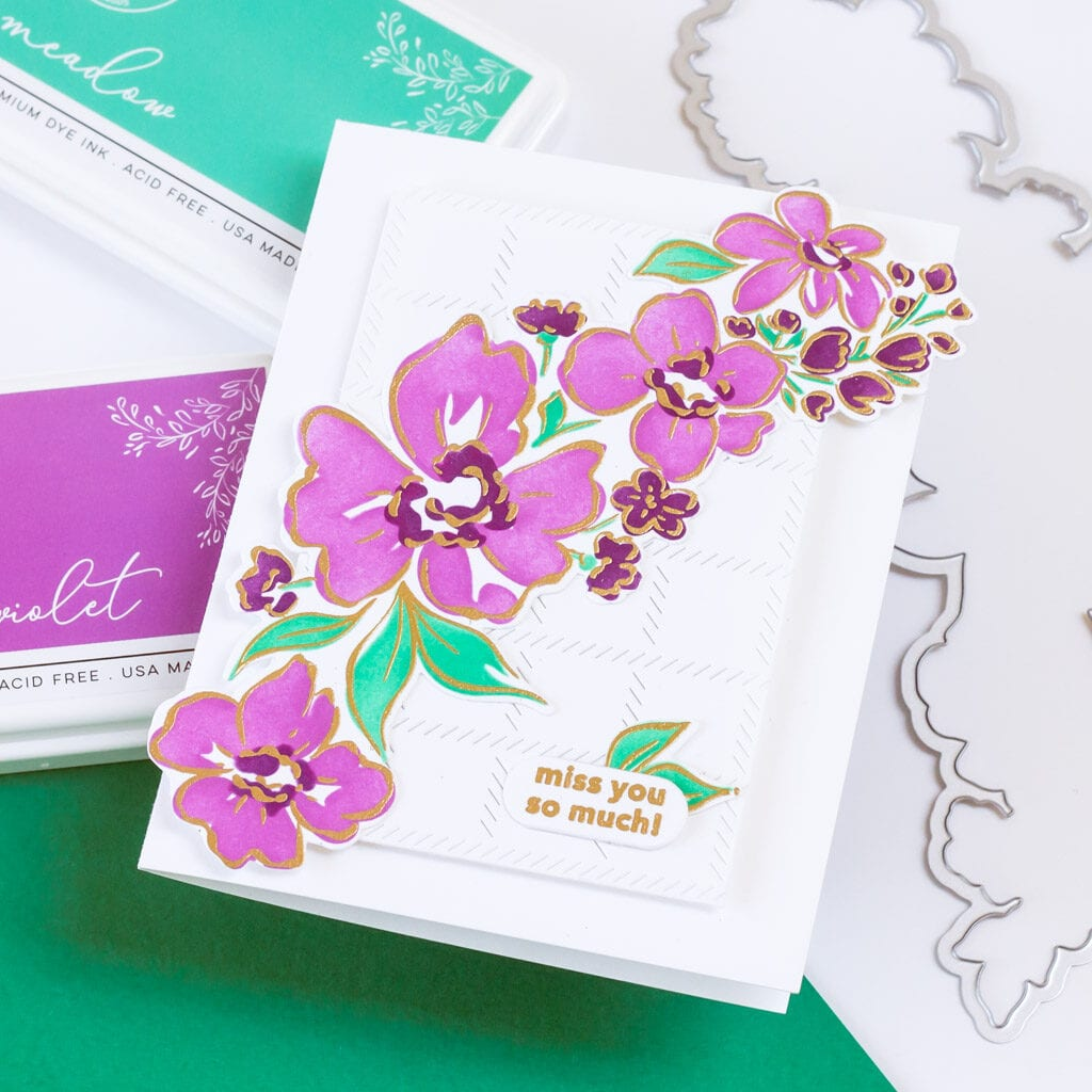 Floral card featuring Pinkfresh Studio Floral Notes layering stencil